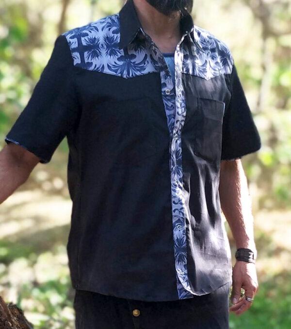 Camisa Palmeras Negra Vayu